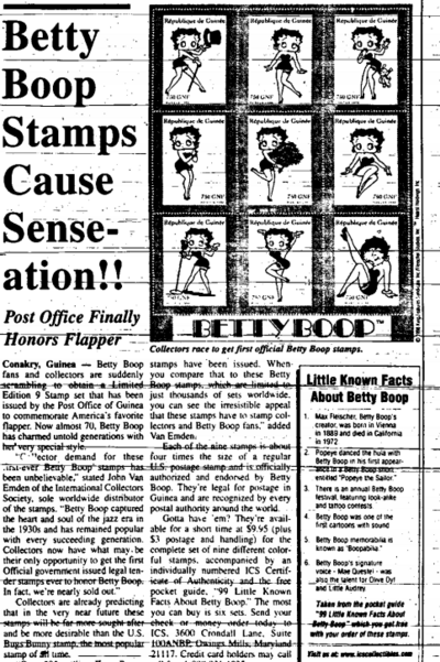 Betty Boop Stamps Cause Senseation!! (1998)