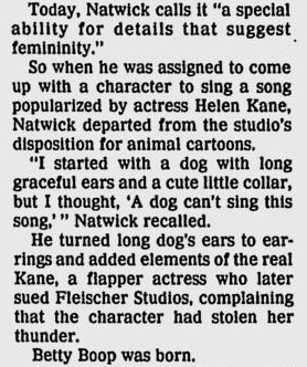 Grim Natwick on Creation of Betty Boop 1990