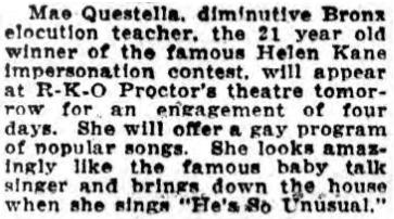 Mae Questella 1929 He's So Unusual