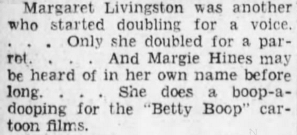 Margie Hines Betty Boop Voice 1932 was Correct
