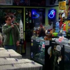 Sheldon and Leonard at the comic book store only to find Dale at the counter instead of Stuart.