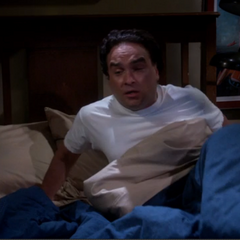 Waking up from his Penny kissing Sheldon nightmare.