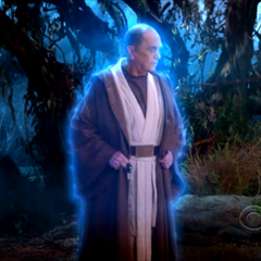 Professor Proton dressed as Obi-Wan on Dagobah in Sheldon's dream.