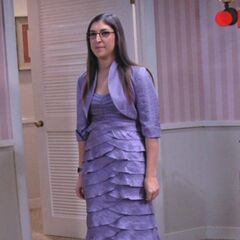 Amy tries on purple formal.