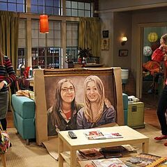 Amy and Penny with the painting of them.