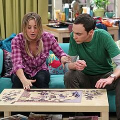 Putting a clue-puzzle together in Penny's apartment.