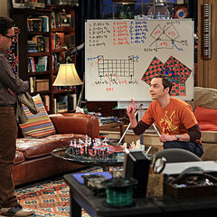 Leonard observing Sheldon's 3 person chess.
