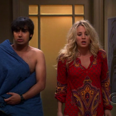 Raj and Penny come out of Leonard's room.
