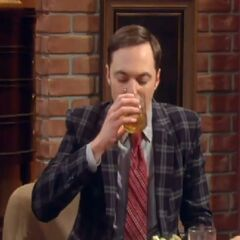 Sheldon breaks his personal rule of not drinking for one night to follow social convention.