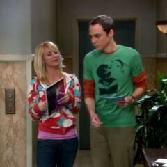 Sheldon and Penny in the lobby.