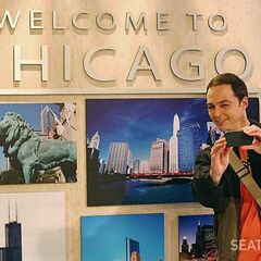 Sheldon in the Chicago train station.