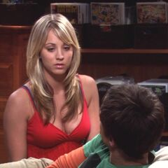 Penny tries to console Sheldon.