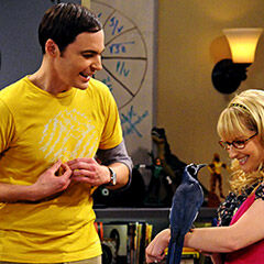 Berandette coaching Sheldon to pet her.