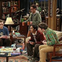 The gang is playing cards at Leonard and Sheldon's apartment.