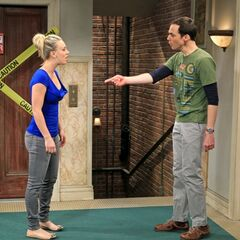 Sheldon and Penny arguing.