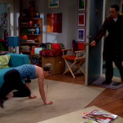 Sheldon hears a noise from Penny's apartment.