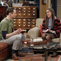 Amy happy about moving in with Sheldon.