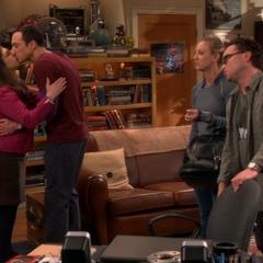 Sheldon and Amy saying good-bye.