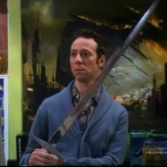 Stuart suggests using the Excalibur as a cane for Amy's aunt.