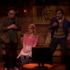 Leonard and Raj doing karaoke to Salt-N-Pea's