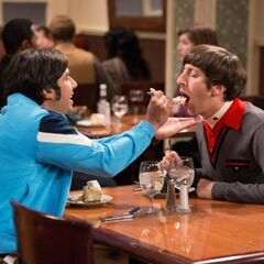AR: Raj feeding Howard some of his dessert.