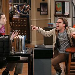Leonard laughing at Sheldon after he was insulted by Prof. Hawking.