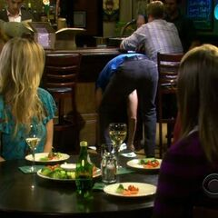 Amy is aroused at the sight of Zack bending over his knees.