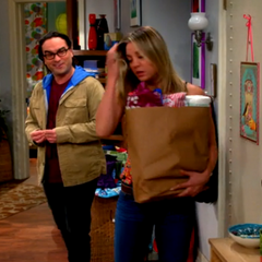 Leonard comes back early to surprise Penny.
