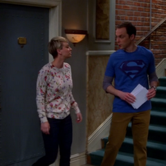 Penny walking Sheldon to his surprise party.