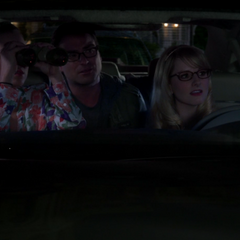 Checking out Amy's date using Bernadette's surveillance equipment.