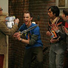 Sheldon threatening Leonard not to open his mint figurine package.