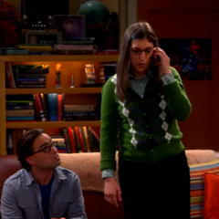 Amy talking to Sheldon on the road.