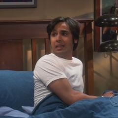Raj sleeping over in Leonard's bed.