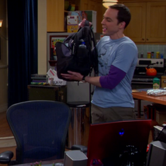 Sheldon shows his PRK or Public Restroom Kit.