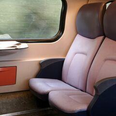 Sheldon's train trip photo. The seat he didn't use. Cracker crumbs.