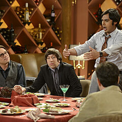 Raj gives a speech at Howard's Bachelor Party as the rest watch.