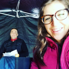 Mayim and Jim up bright and early for an unusual morning shoot.