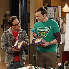 Sheldon and Leonard with their Star Trek transporters.