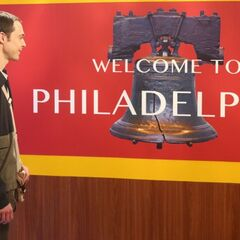 Sheldon in the Philadelphia train station.