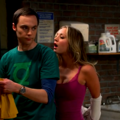 Penny trying to get Sheldon to kiss her.
