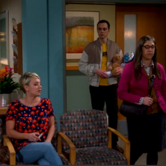 Amy and Sheldon surprising Penny while waiting during Leonard's operation.