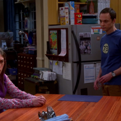 Amy mad at Sheldon. Note tongue in cheek.