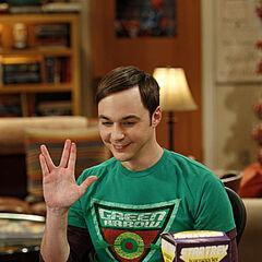 Sheldon and Vulcan salute.