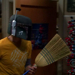 Sheldon dons the Mandalorian armor of Boba Fett for protection.
