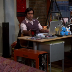 Raj at his desk.