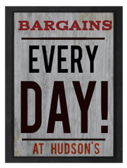 Hudsons Bargains sign