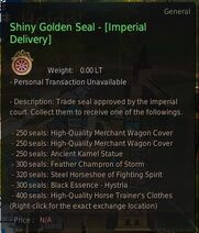 Currency shiny golden seal imperial delivery