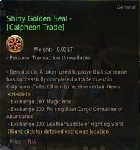 Currency shiny golden seal calpheon trade