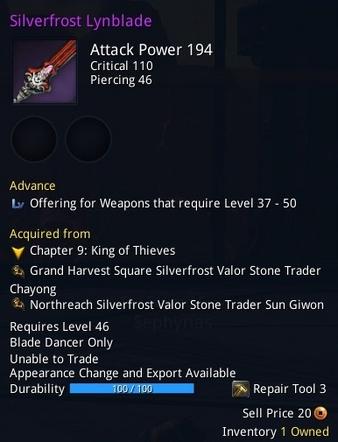 Silverfrost Lynblade description