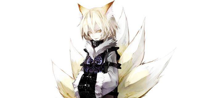 File:Blonde-tails-touhou-short-hair-yellow-eyes-kitsune-grin-anime-girl-badass-yakumo-ran-fox-girl-koumajou-densetsu-simple-background-wallpaper.jpg